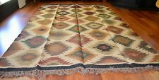 Kilim Rug Indian Jute Wool Large Hand Knotted 180x275cm 6x9ft Geometric KR1810