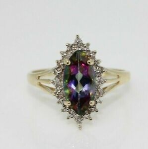 9ct Yellow Gold Mystic Topaz and Diamond Cluster Ring Size P, US 7 1/2
