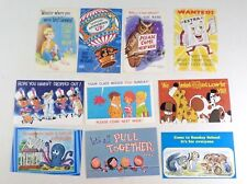 Vintage Missed You at Sunday School Christian Postcards -10 Different Cards  C