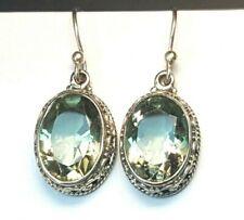 925 Sterling Silver Oval Green Amethyst Quartz Filigree dangle Earrings