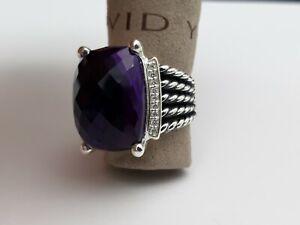 David Yurman 20x15mm Wheaton Ring Amethyst and Diamonds Size 8