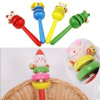Funny Toy Wooden Educational Percussion Rattles Musical Instrument Hand Bell