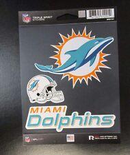 Rico NFL 3 Die Cut Decals Stickers Triple Spirit Helmet Miami Dolphins new