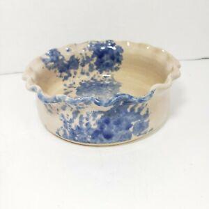"Cross Creek Pottery Dish 6.25 "" Seagrove North Carolina Ruffled Edge Blue Tan"