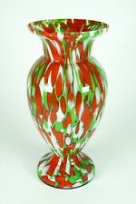 Vintage Colorful Art Glass Vase Czechoslovakia Bohemian Green Red White Blown