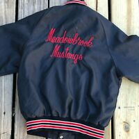 Vintage Youth 80s Satin Jacket Snap Buttons Coach Meadowbrook Mustangs Black