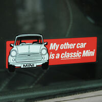 My other car is a classic Mini WINDOW Sticker Decal 122mm x 43mm red Rover