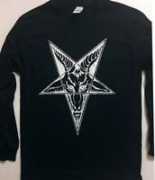 BAPHOMET Goat Head Long Sleeve T-shirt Pentagram SATANIC CLOTHING EVIL GIFT S-XL