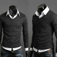Men Stylish Slim Fit Sweater Long Sleeve Casual Knit Pullover Shirt T-shirt Tops