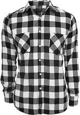 Urban Classics Checked Flanell Shirt Holzfäller Knopf Karo Hemd lang schwarz rot