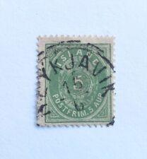 1882 Iceland stamp - 5aur - sc#16 - green - used