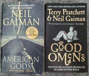 NEIL GAIMAN 2 BOOK LOT - AMERICAN GODS + GOOD OMENS - PAPERBACK FREE SHIPPING