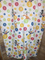 Vintage Disney Mickey Mouse Goofy Pluto Donald Full Size Flat Bed Sheet Numbers