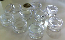 100 Cosmetic Jars Empty Plastic 5 Gram Lip Balm Pots Beauty Containers Clear Top