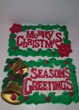 2 Vintage Merry Christmas Seasons Greetings 3D Plastic Sign Decoration