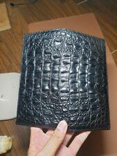 Black doubleside  Hornback Crocodile Alligator Leather Zipper Clutch Long Wallet
