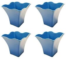 Set of 4 Square Scalloped Rim Biodegradable Bamboo Fiber Planters (Blue)