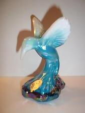 Fenton Glass Turquoise Blue & White Slag Swirl Carnival Hummingbird Figurine