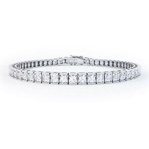 White gold finish princess cut created diamond tennis bracelet