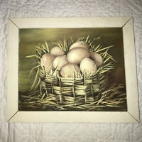 FARM eggs original hand painted PAINTING farmhouse country decor by Peterson