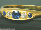 Antique 18k gold 18ct  gold  sapphire & old mine cut diamond ring size P