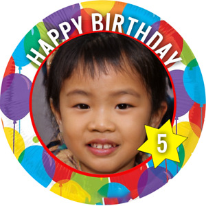 PERSONALISED PHOTO BIRTHDAY ROUND STICKERS PARTY BAGS FAVOURS