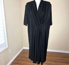 George Black Dress 12/14 L Large Women Stretch Shift Short Sleeve Career