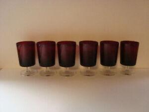 "6 Vintage GLASSES Luminarc Arcoroc Ruby Red Clear Stemmed Glasses France 5 """