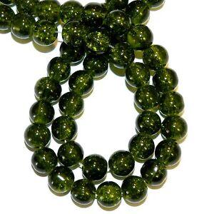 "G1319 Dark Green 8mm Round Crackle Glass Beads 32"" Strand"