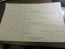 THE COUNTY SAVINGS BANK IN  SCRANTON PA - PAGE OF 3 UNUSED CHECKS 1920'S