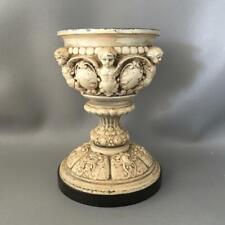 Antique French Shabby Vtg Chic Cast Iron Cherubs Urn Pedestal Bowl Centerpiece