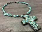 Religious+Cross+Necklace+Turquoise-Color+Stones