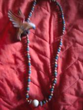 Collana Scultura Pappagallo di Legno Naturale con-Grande Sfera di Agata Bianca