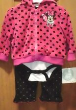 DISNEY CLOTHING  Minnie 3Pc Pant Set w/ Ears on Hood Infant 0-3 Months
