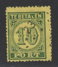 NETH INDIES STAMP #J4  -- 10c GREEN ON YELLOW 'DUE' -- 1874 - USED