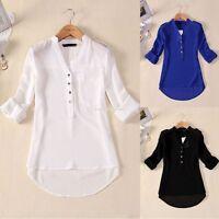 Summer Women's Loose Chiffon Deep V-Neck Tops Long Sleeve Shirt Casual Blouse HF