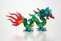 Green Dragon Hand Blown Blowing Glass Art Animal Fancy Collectible