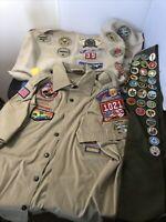 Boy Scouts Of America Sash w/ Badges Deerskin w/ Badges Shirt w/ Badges Lot