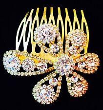 USA use Swarovski Crystal Hair Comb Bridal wedding Party Gemstone Gold Flower