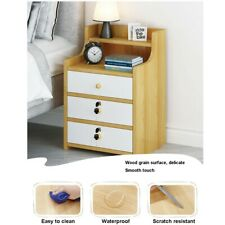 3 Drawers Nightstand Storage Wood End Table Bedside Organizer Modern W/Lock USA