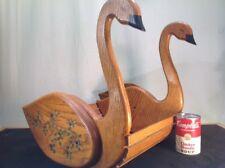 "Vintage Folk Art Swans Solid Oak Hand Made Hand Painted Container/ Baskt. 15""h"