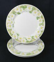 "Vintage 70s Metlox Poppytrail Sculptured Daisy - Set of 3 Dinner Plates 10-1/2"""