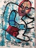 Hasworld Oil pastel Drawing on Paper abstract neo expressionism artist Graffiti
