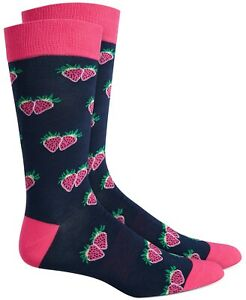 Bar III Men's Strawberry Socks Navy Pink