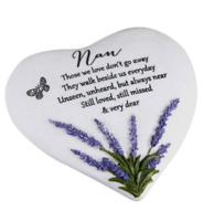 NAN MEMORIAL GRAVE HEART ORNAMENT WITH LAVENDER DETAIL REMEMBRANCE GIFT