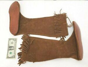 Minnetonka Leather Hunter Woodsman Tall Boots Moccasins - Mens Size 11 - Fringe