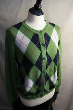Misses TOMMY HILFIGER Argyle Cardigan Sweater Green Black White XL