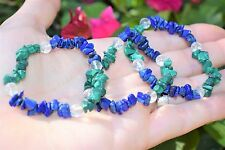CHARGED Lapis Lazuli & Malachite Crystal Bracelet w / Quartz REIKI Energy!