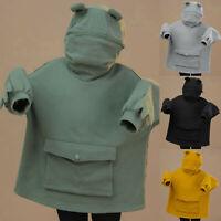 Kids Boys Girls 3D Frog Hoodies Zipper Sweatshirt Tops Jumper Pullover Hooded