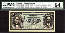 Mexico Revolutionary Currency 50 Centavos 1915 P-S1042 Choice UNC PMG 64